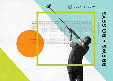 Man swinging golf club with score card in the background and text that reads Brews and Bogeys